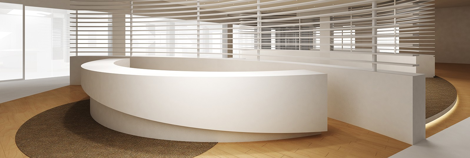 avonite white reception desk thermoformed