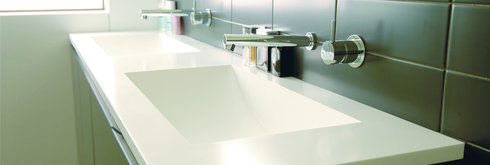 hanex white double sinks washroom