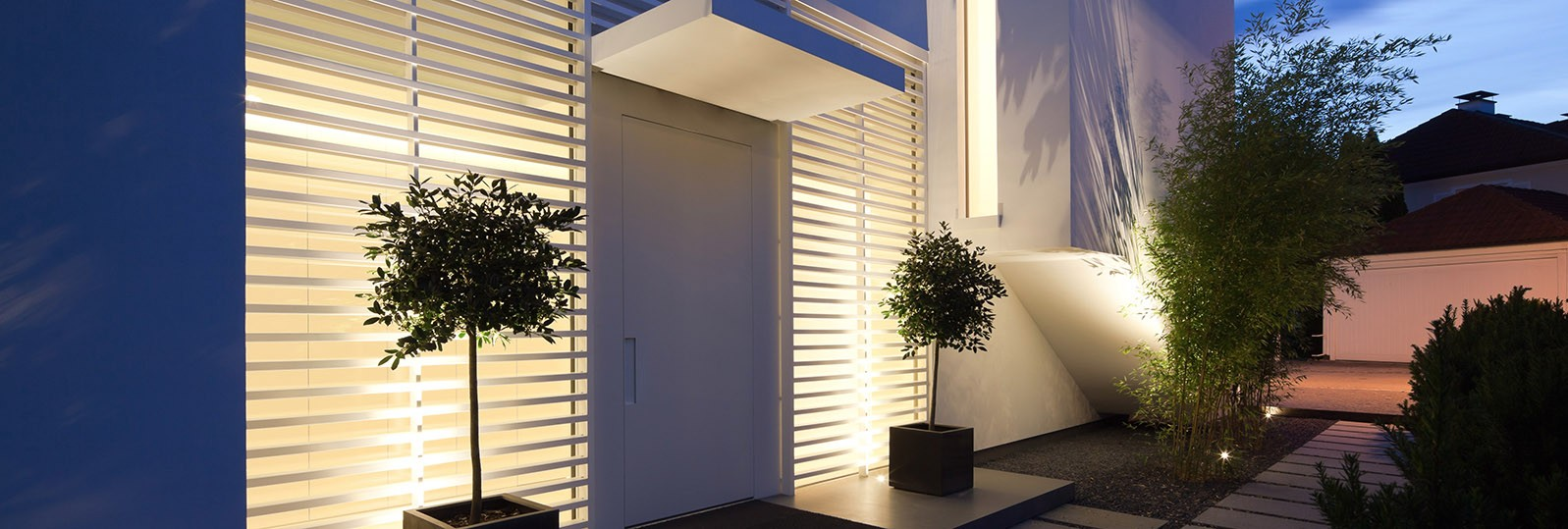 hi-macs house in germany white exterior cladding lighting